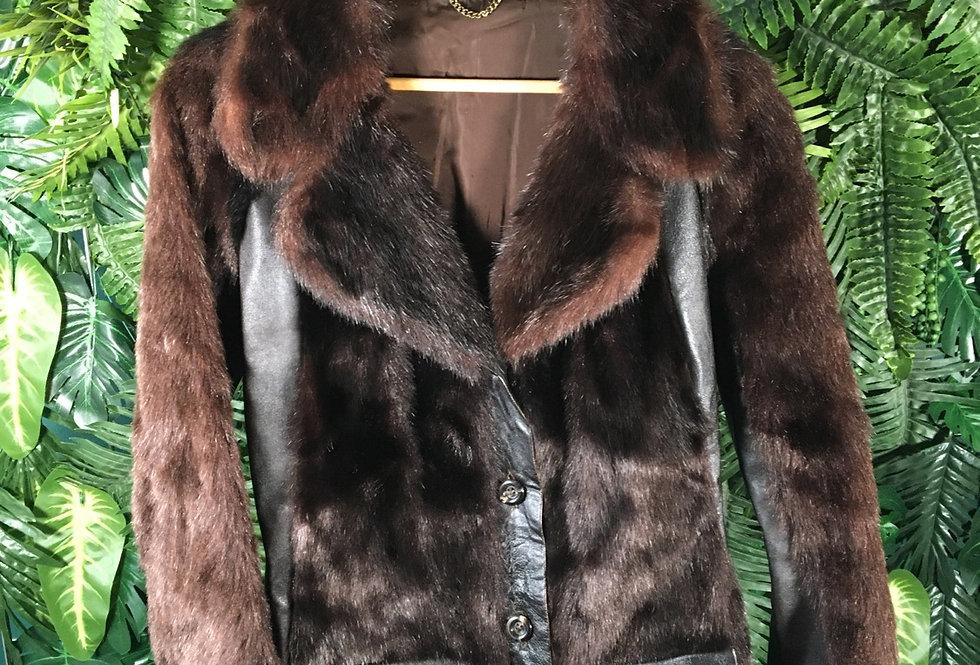 Faux Fur & Leather Panel Jacket (S)