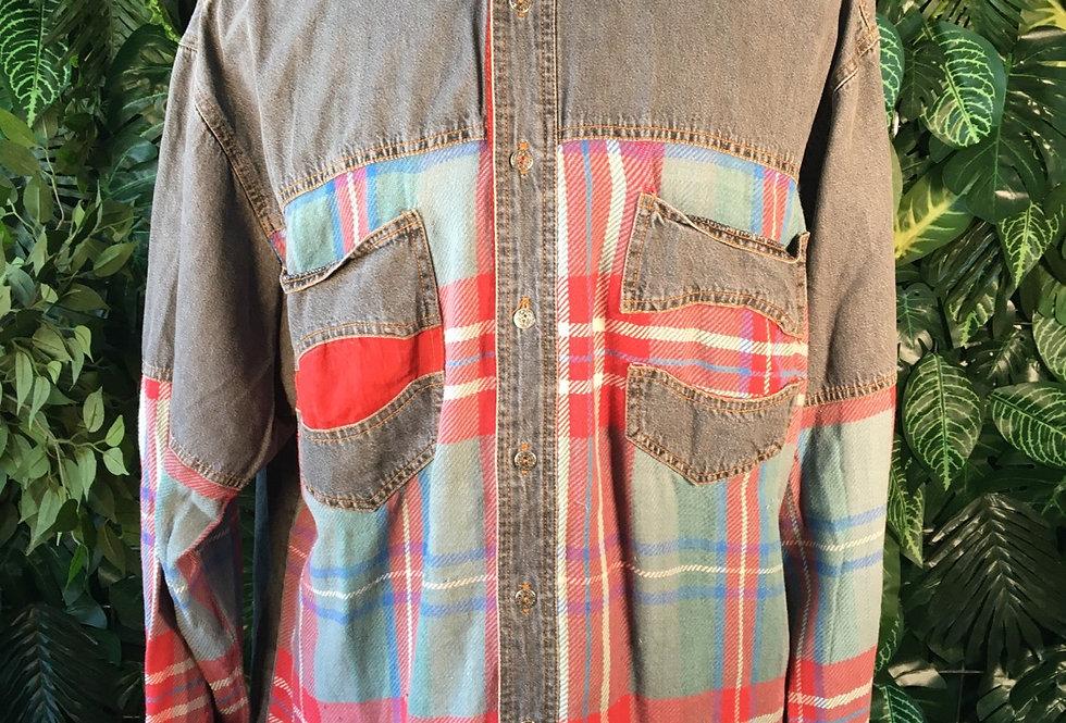Accanto denim & plaid shirt (L)
