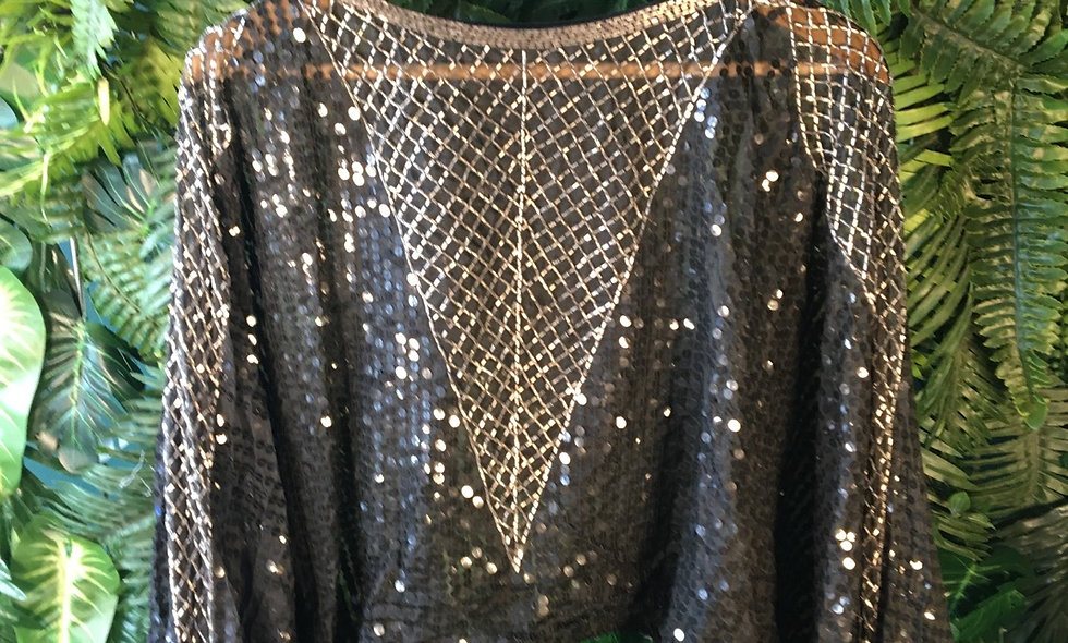 Sheer Sequin Wing Sleeve Sweater (L)