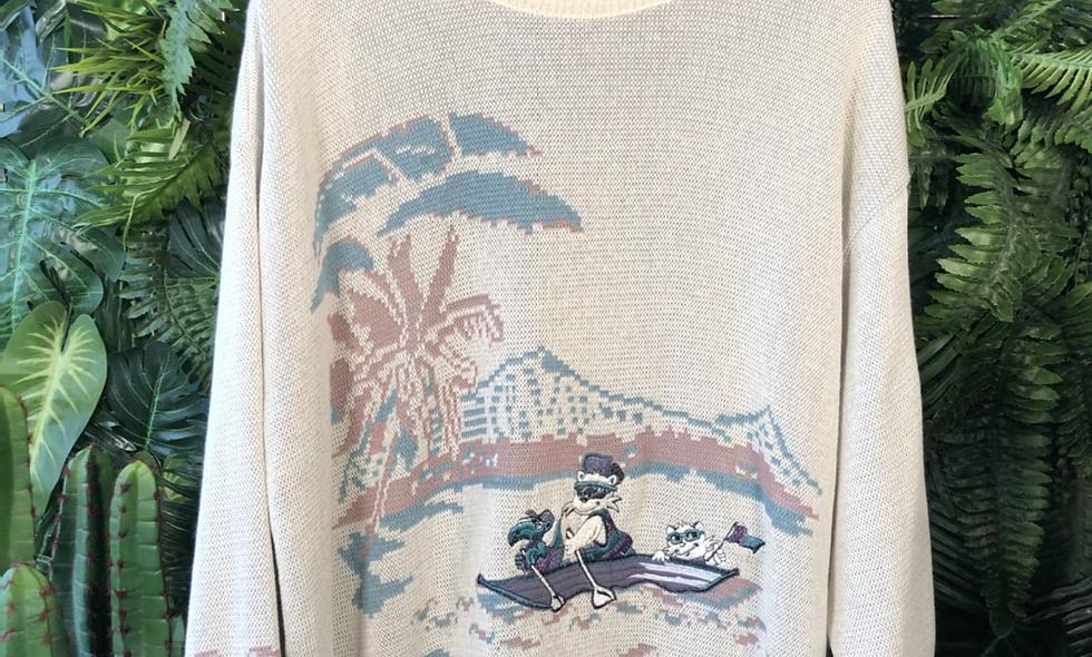 80s bear in a boat knit