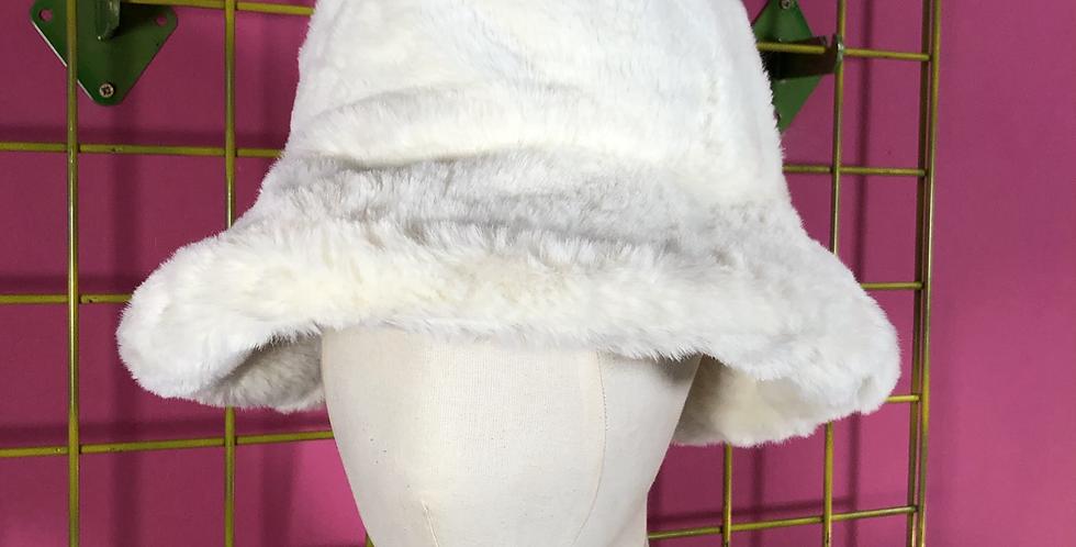 Cream faux fur hat