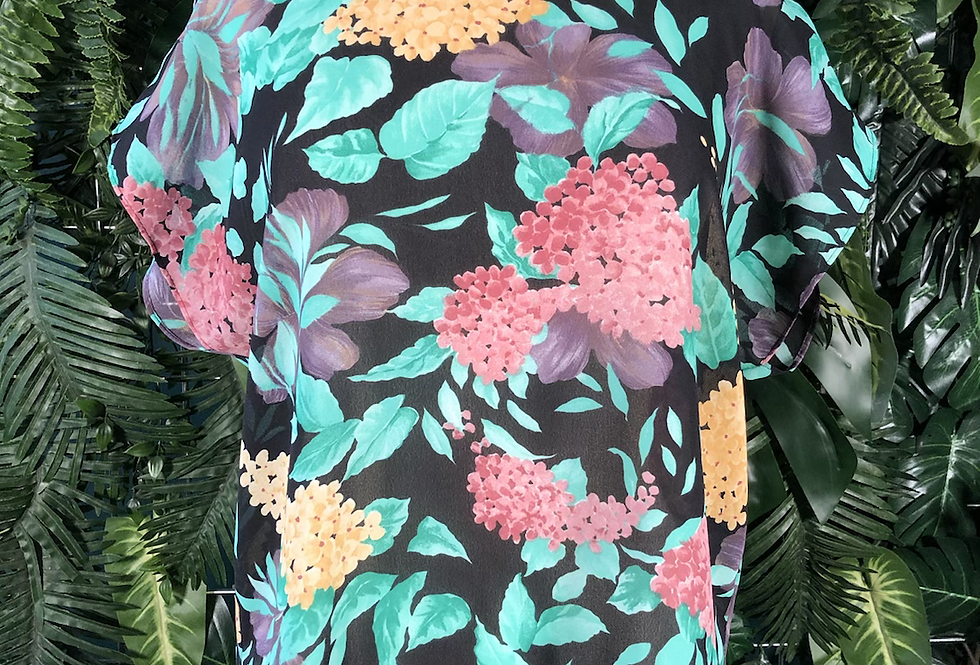 90s floral shift blouse