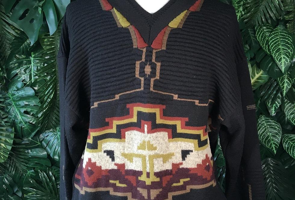 Geometric V neck knit (L)