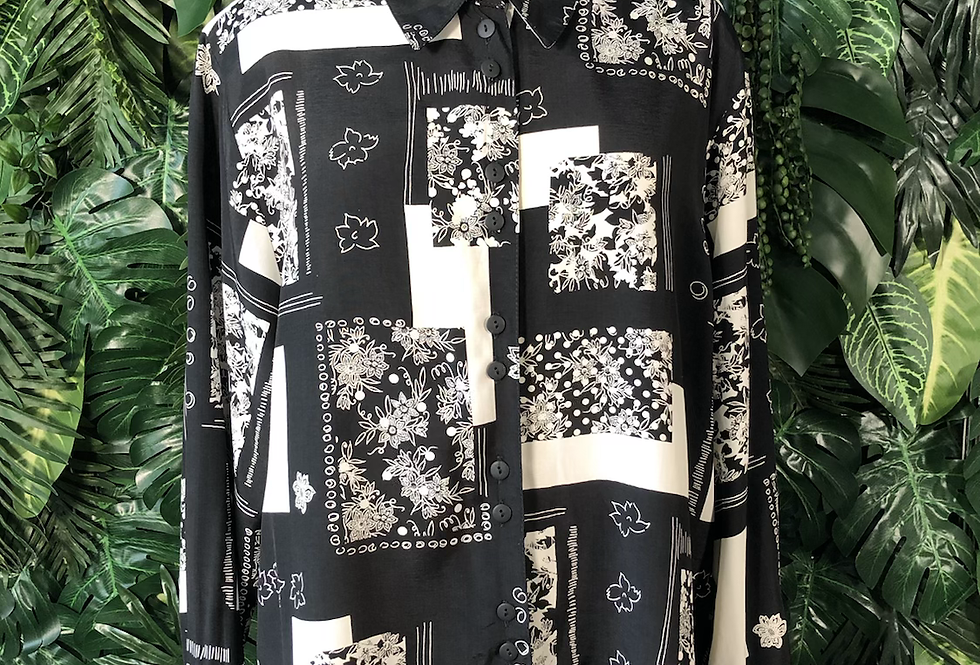 Black and white 90s blouse