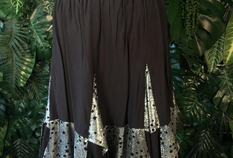 80s black and silver rara skirt