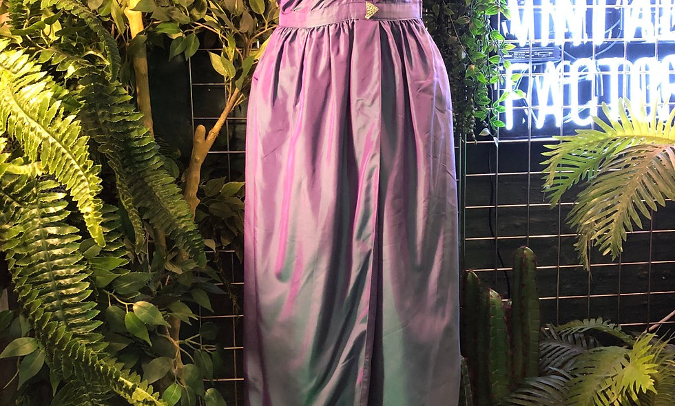 Purple & green two tone gown