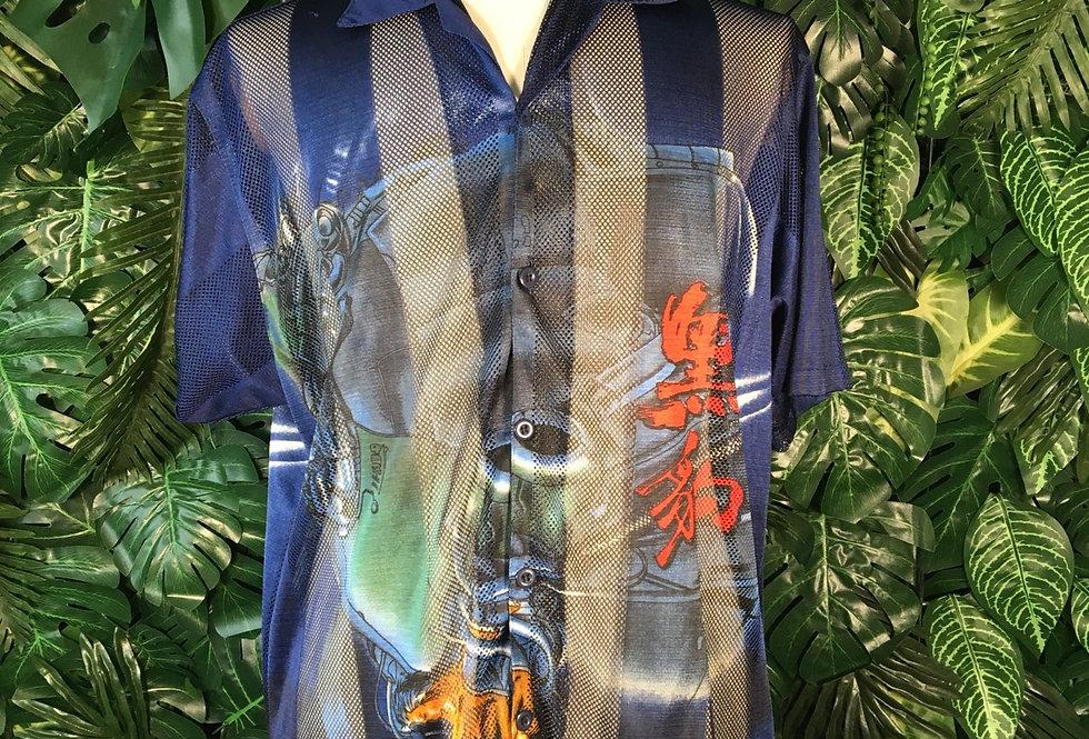 Mesh anime print shirt (L)