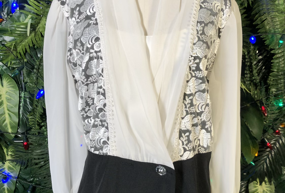 Black & white 80s blouse