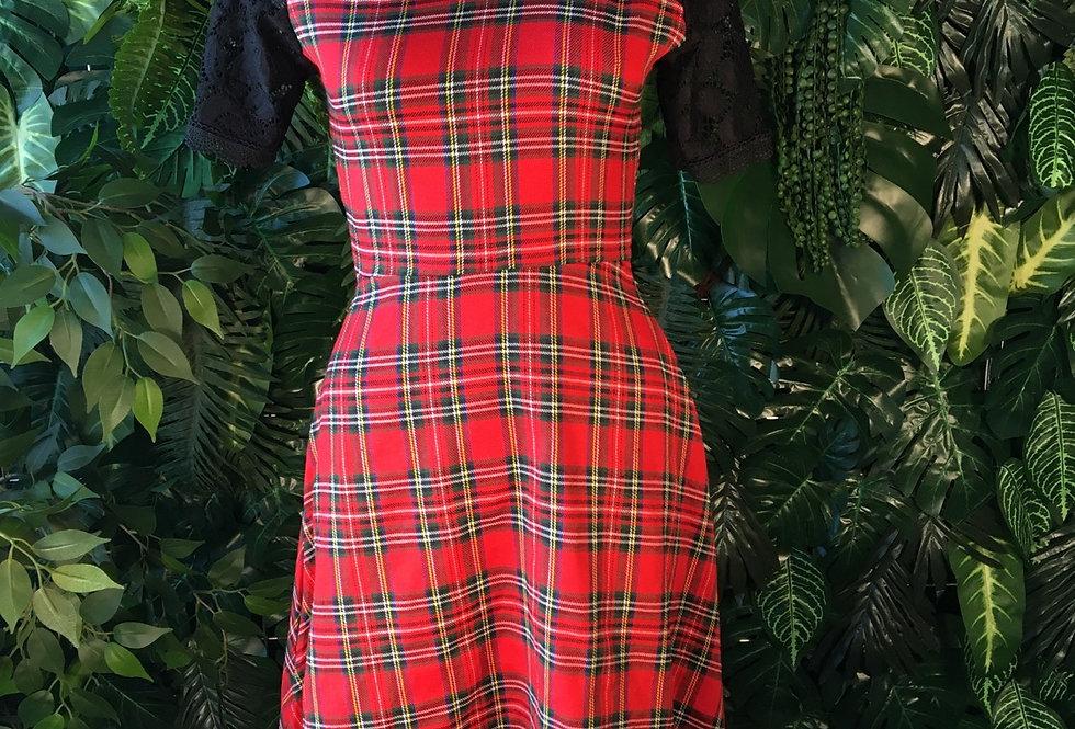 Tartan dress with black lace shoulder