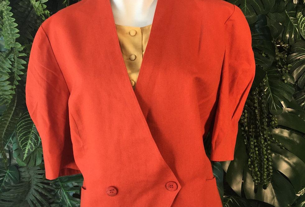 Lady Adler burnt orange & yellow blouse (size 16-18)