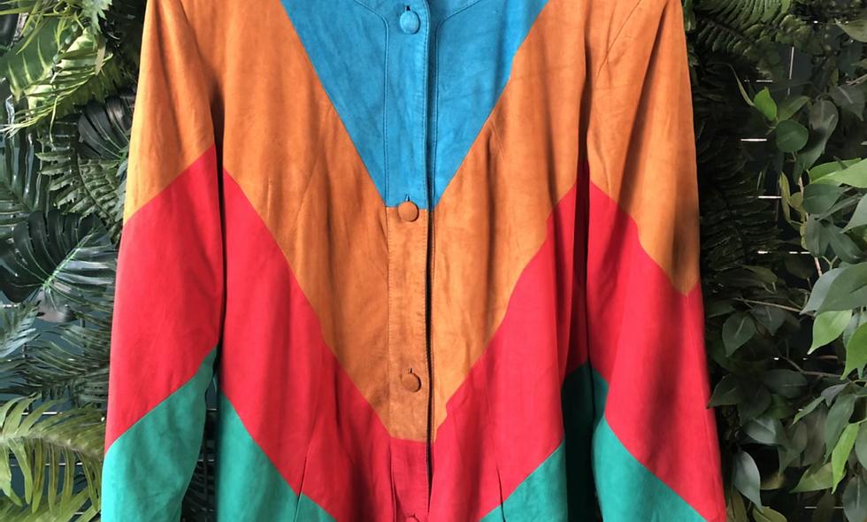 Valentino 1980s suede multi coloured panel jacket