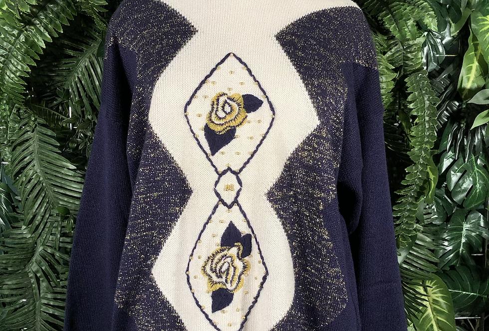80s navy beaded knit