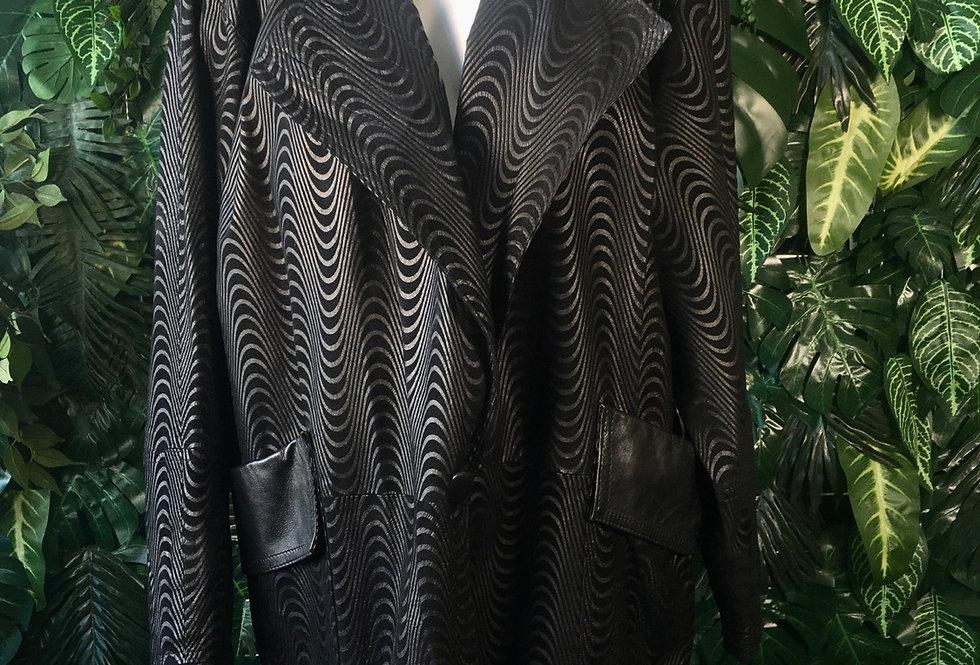 Wave pattern leatherette coat (size 46)