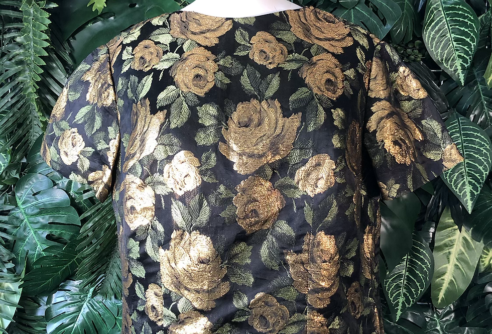 1960s gold brocade rose blouse