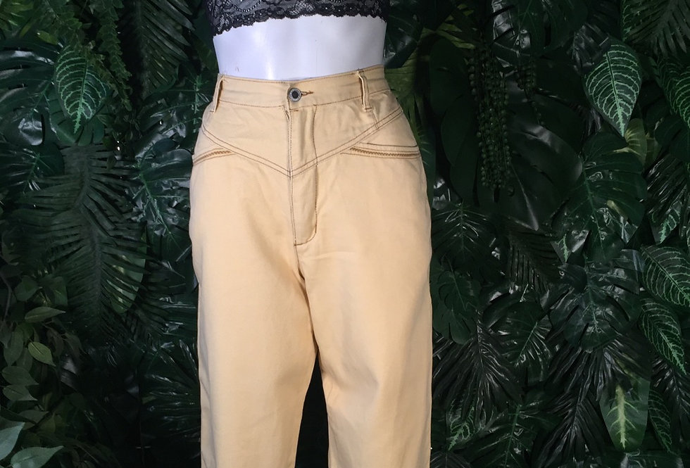 Arizona yellow jeans with contrast thread (size 8)