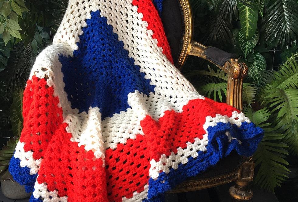 Handmade red, white & blue blanket