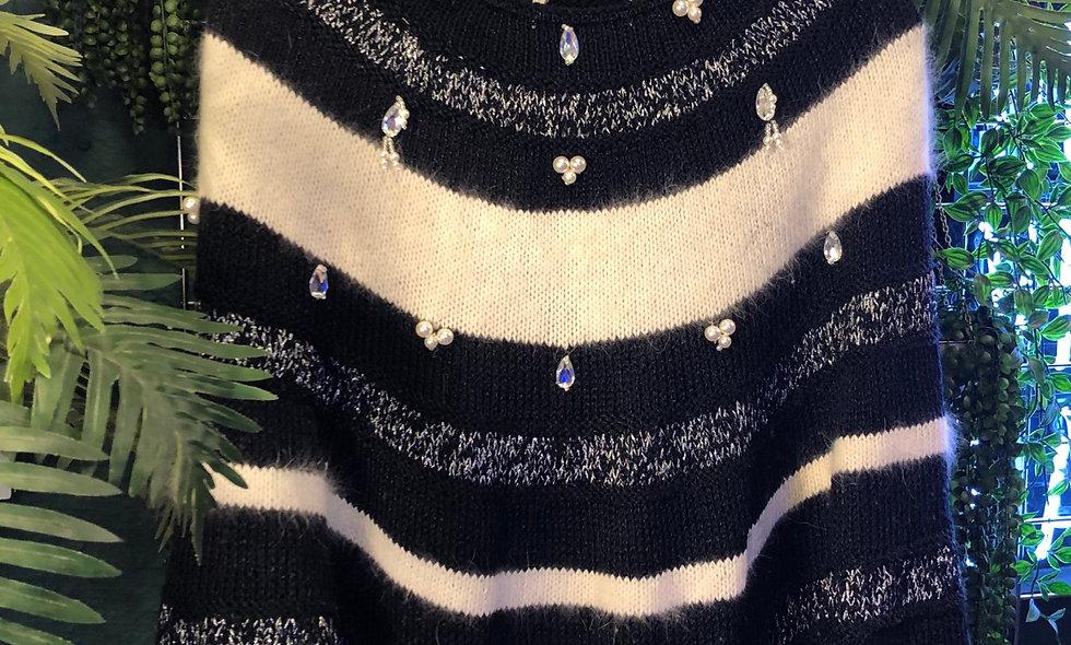 Pearl & diamanté bat wing knit