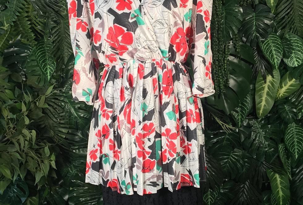 Canada 80s peplum flower dress (size 10-12)