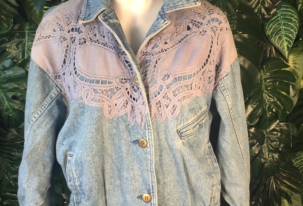 Lace panel denim jacket (S)