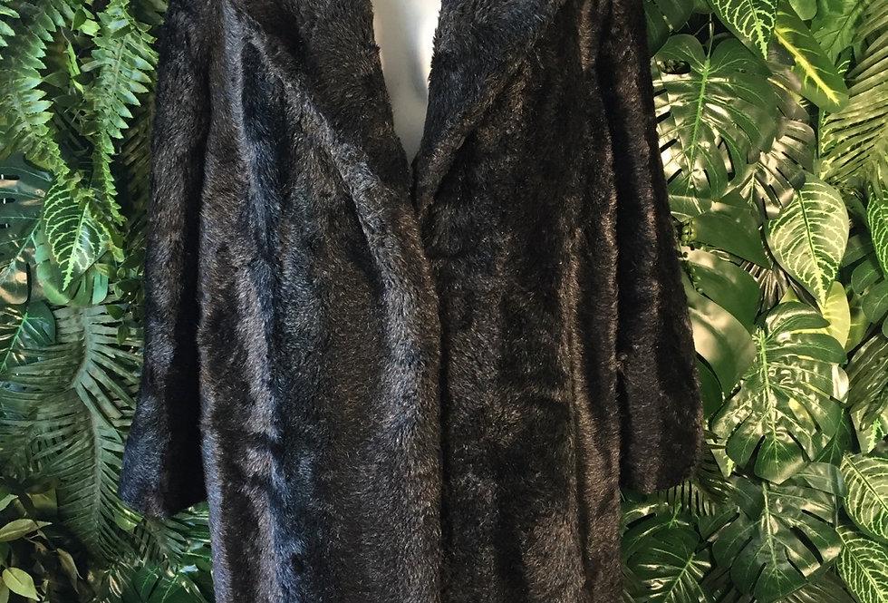 Black shawl collar faux fur coat (L)