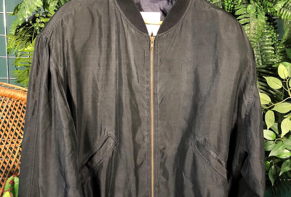 Black silk bomber