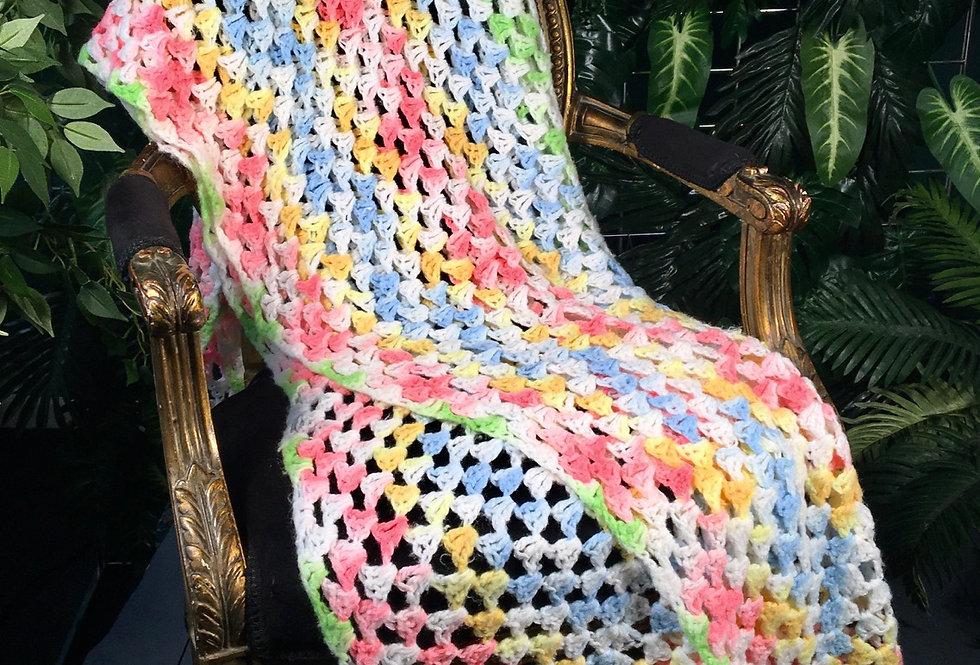 1980s Ice Cream Coloured Crocheted Blanket