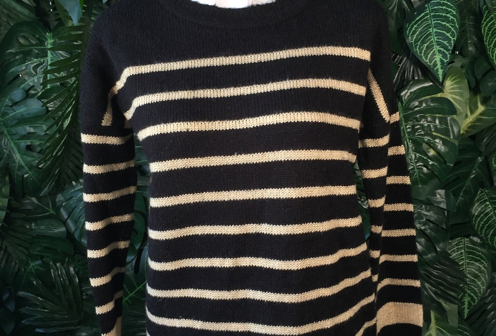 Black and gold striped knit (M)