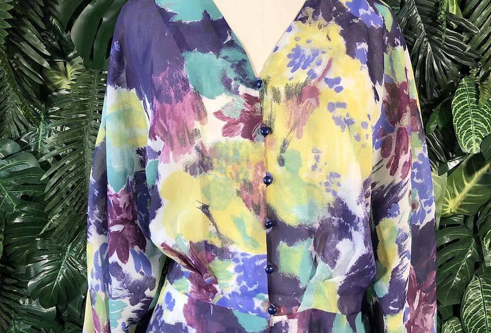 80s sheer peplum blouse