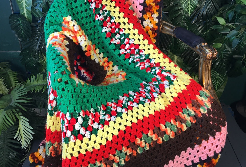 Hand crocheted patch blanket