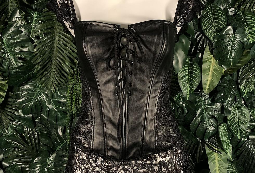 Black faux leather and lace zip & lace corset