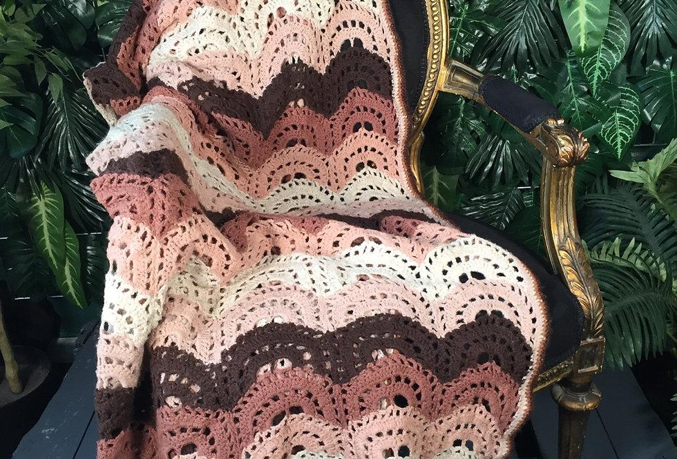 Hand crocheted scallop blanket