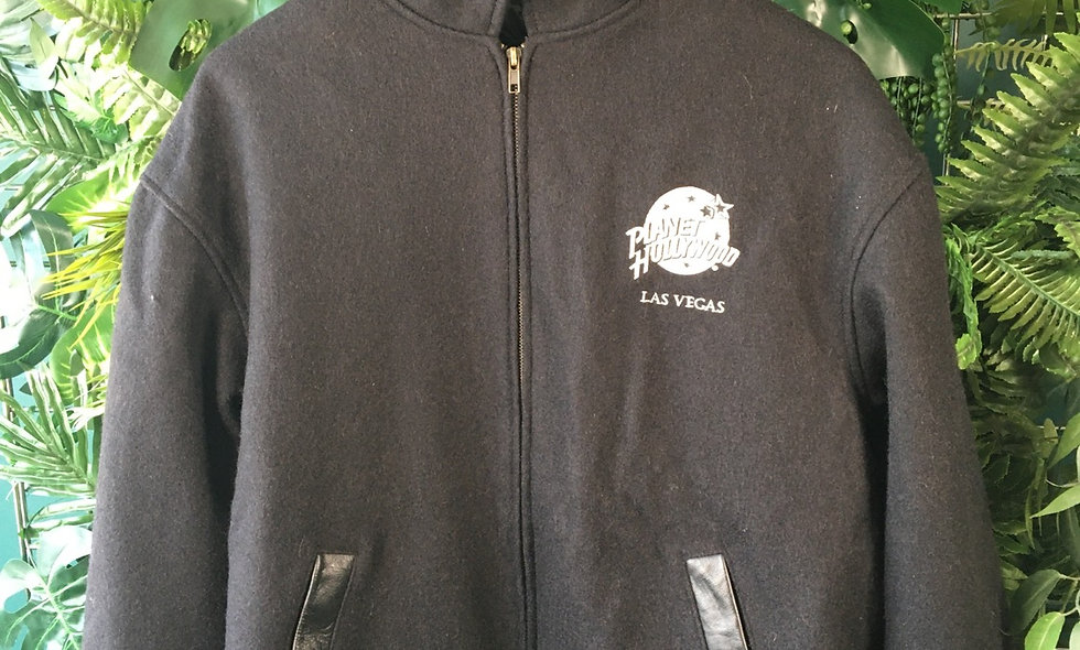 Original 90s Planet Hollywood men's fleece with leather detailing.