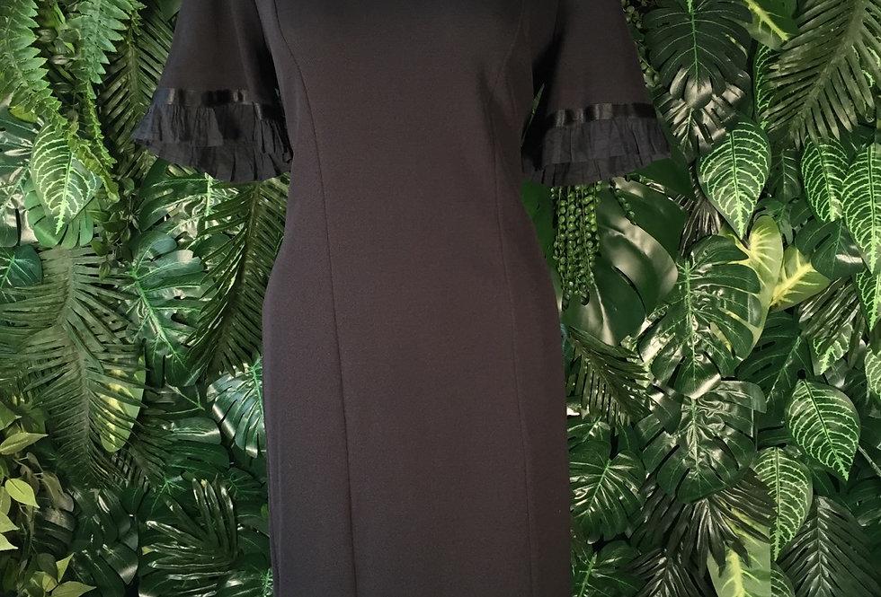 Ruffle trim black dress (size 16)