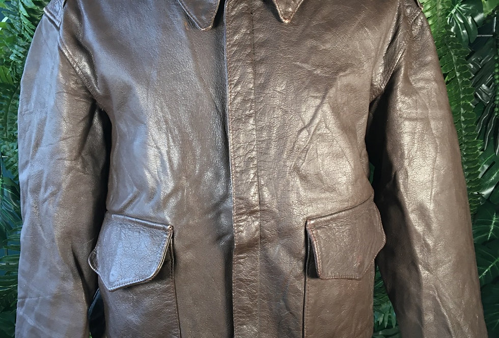 US Leather Jacket With Blood Chit lining (S)