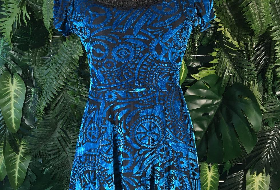 Velvet Flock Mini Dress (Size 8)