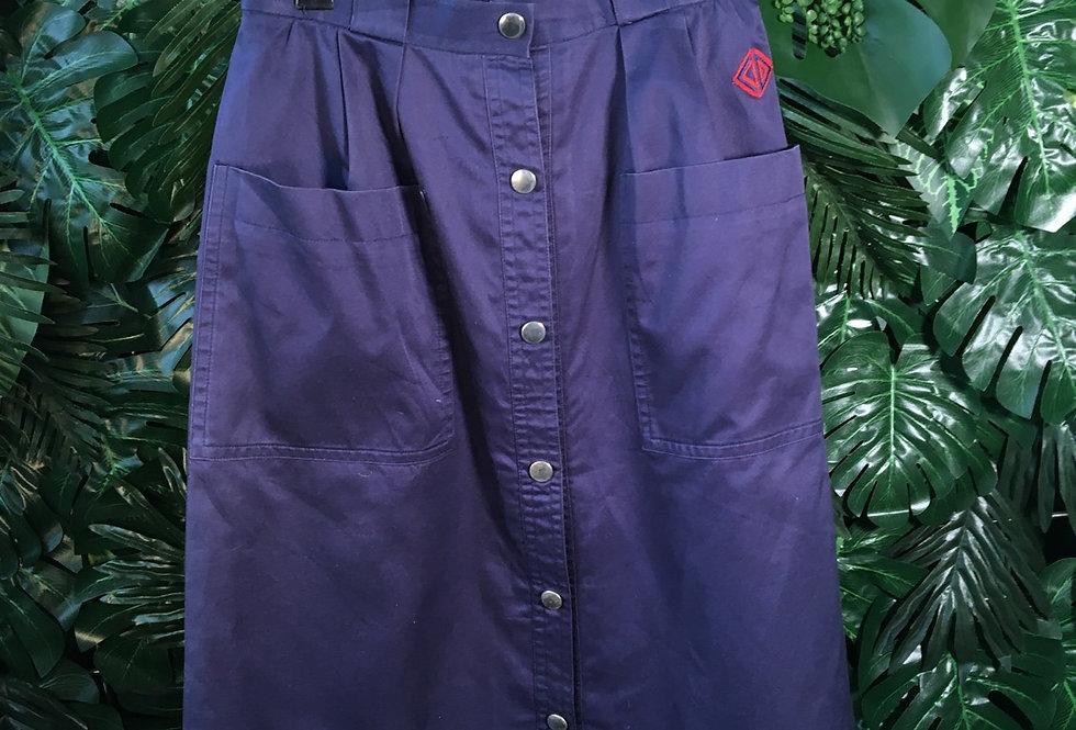 Christian Dior navy button up skirt (S)