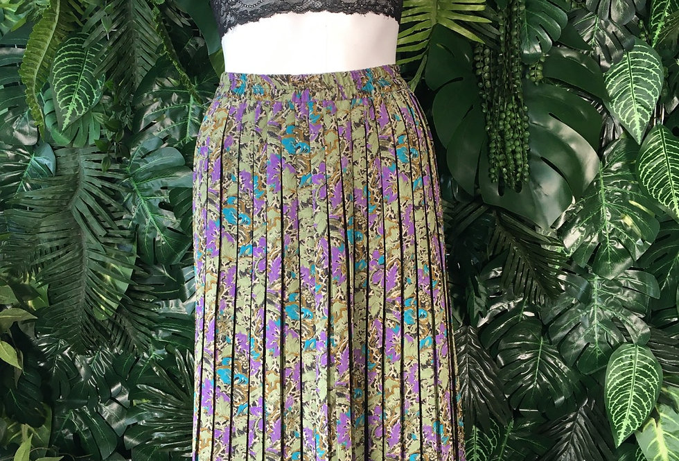 90s pleated florl skirt (size 42)
