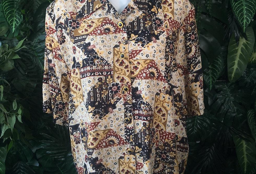 Graphic floral blouse (size 14-16)