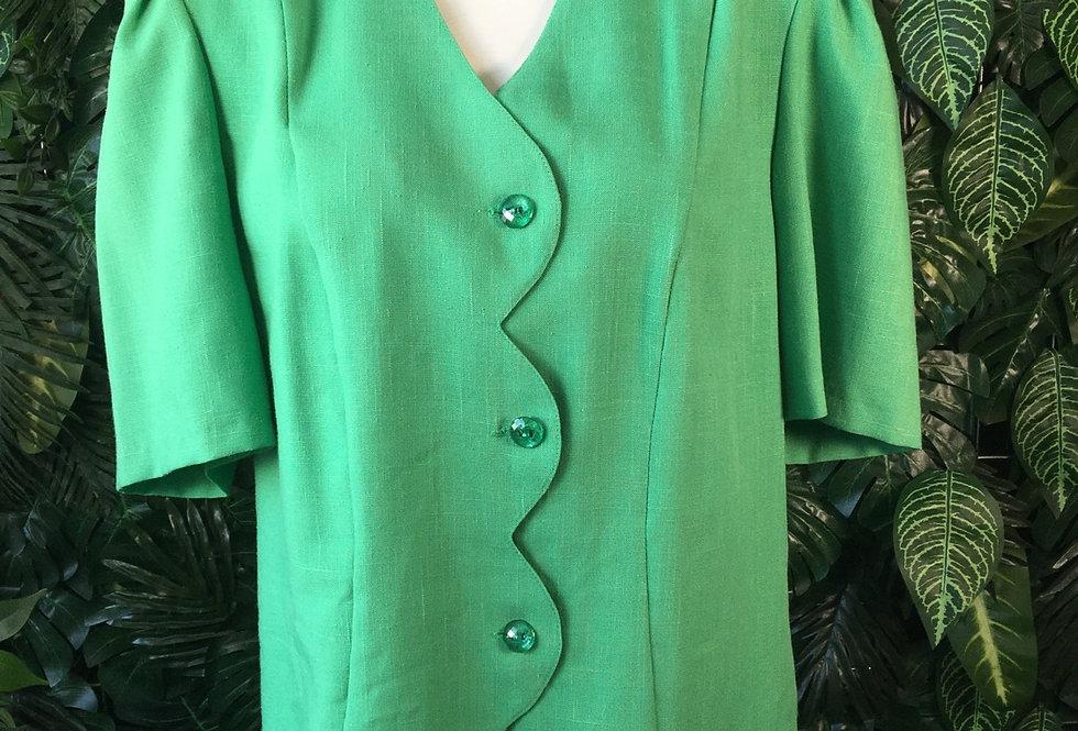 Green scallop lapel blouse (size 12)