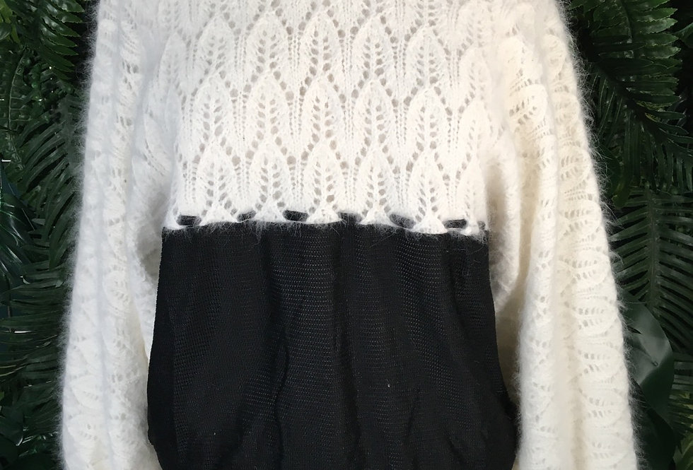 Aspa Mohair 80s Sweater With Sheer Panel (M)