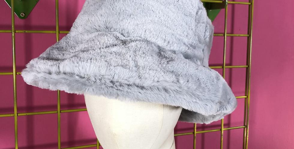 Cloud grey faux fur hat