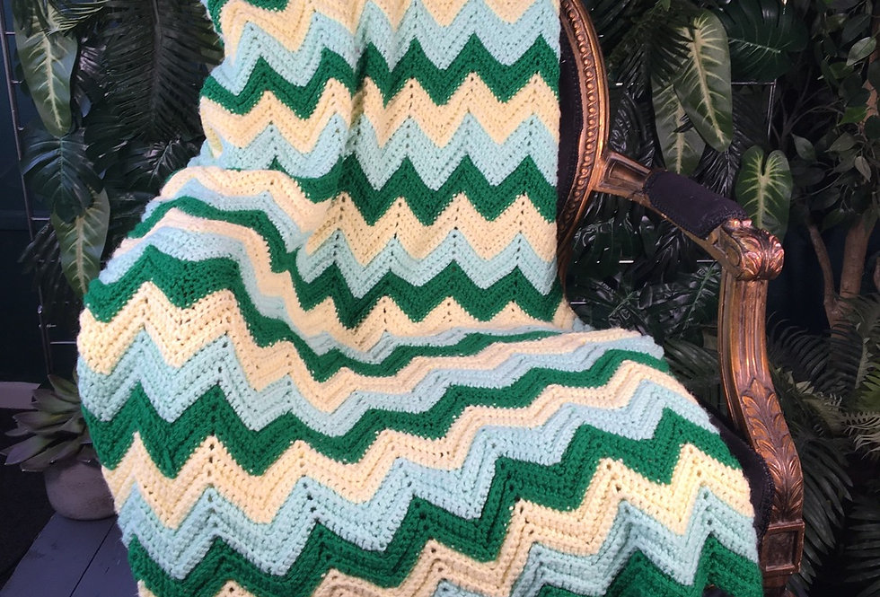 Hand Crocheted Chevron Blanket