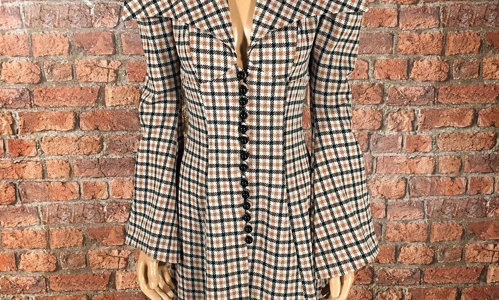 70s maxi collar plaid dress