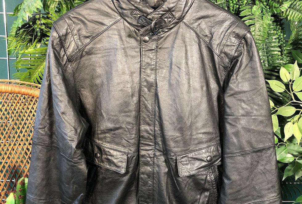 90s clasp neck leather jacket