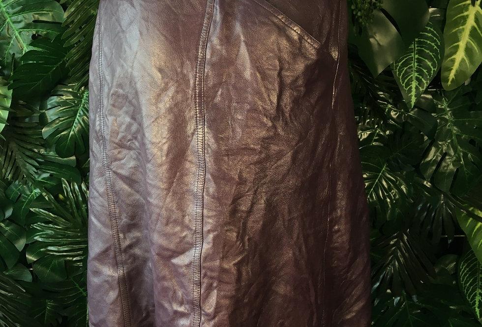 Plum leather skirt (size 14-16)