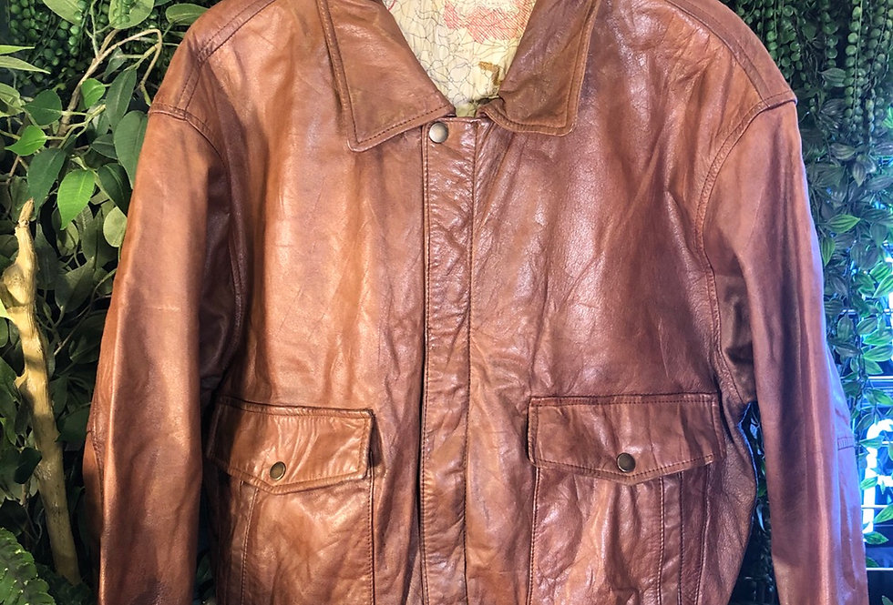 Tan leather bomber jacket with map lining