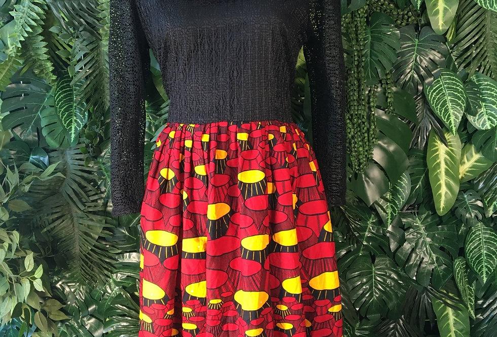 Graphic print ruffle dress (size 16)