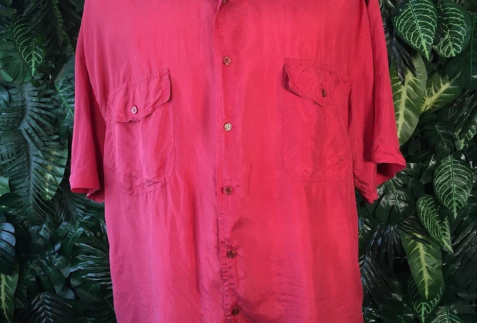 Burgundy pure silk shirt (L)