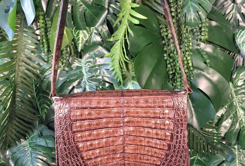 Brown snakeskin satchel