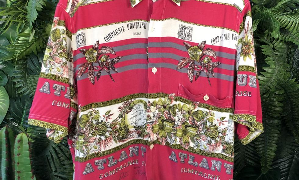 90s pink prin shirt